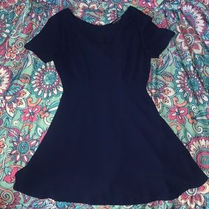 Navy blue, fit and flare, zip-up dress